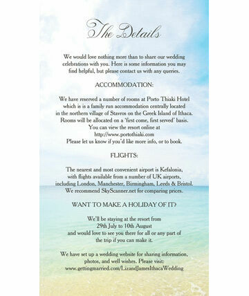 Beach Postcard Guest Information Card 6 00 From 0 75 Let Guests Know All The Extra In Your Weddi