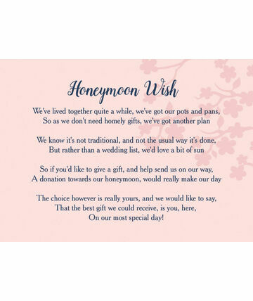 Wedding Gift List Poems Honeymoon : Gift Poem Cards