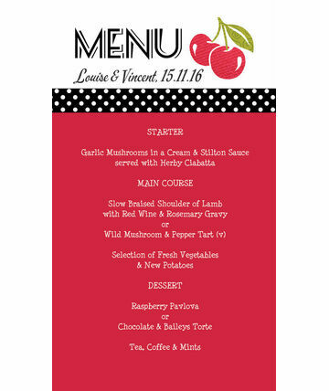 Retro Cherry Rockabilly Menu £6.00 From £0.75 Add A Bit Of Fun And Colour  To Your Guestsu0027 Tables .