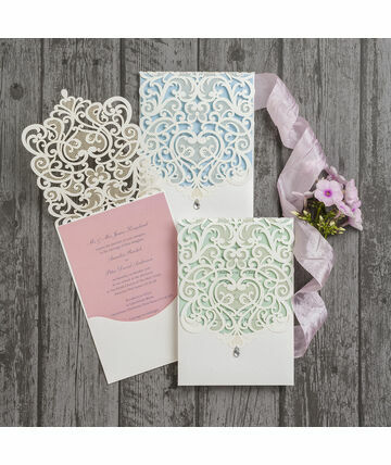 Diamante Laser Cut Pocketfold Personalised Wedding Invitation From GBP175 Our Luxury Invitations Are T