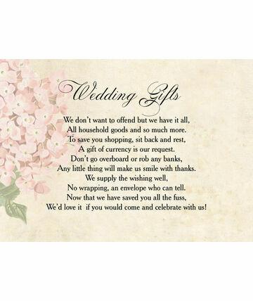 Wedding Gift Wishes : Wedding Gift Wish Poem Cards