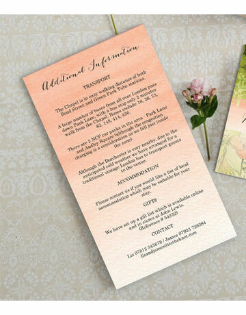 Guest Information Cards Summarise All The Extra That Guests Need For Your Wedding With This Wonderful Range Of Additional Infor