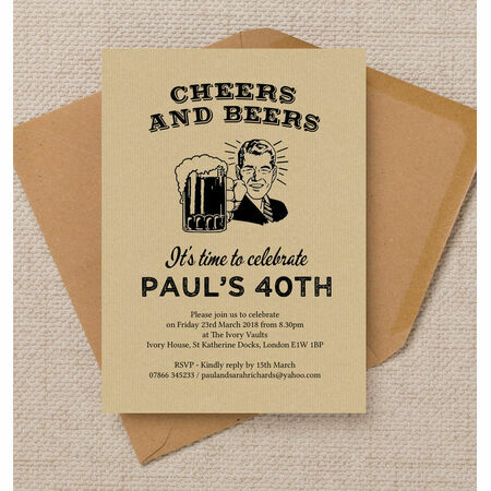 'Cheers & Beers' Retro 40th Birthday Party Invitation from ...