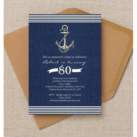 Nautical Sailing Themed 80th Birthday Party Invitation