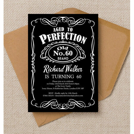 Whiskey Label Themed 60th Birthday Party Invitation from £ ...