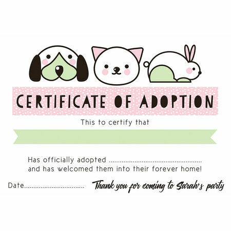 Pet Rescue Party Pretend 'Adoption Certificate' - Pink From £0.80 Each