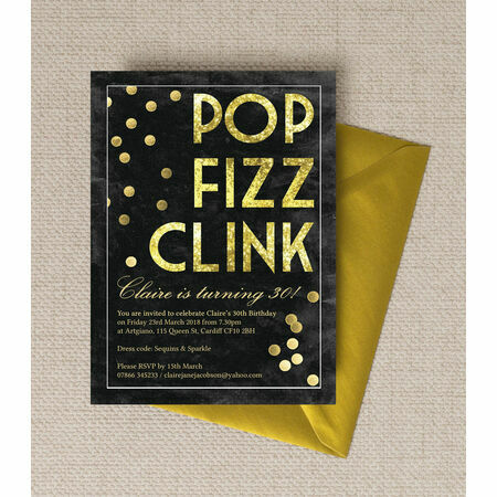 Pop Clink Fizz Champagne Prosecco Themed Birthday Party