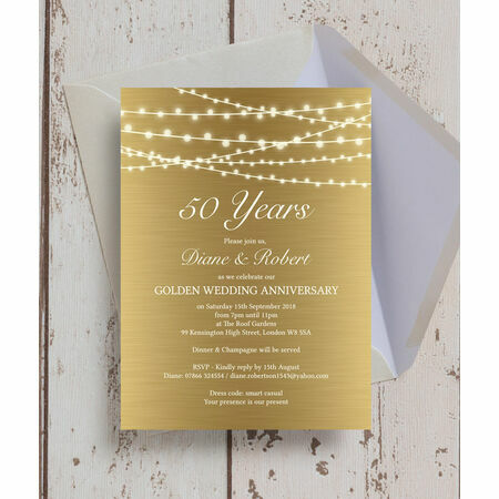 Gold Fairy Lights 50th Golden Wedding Anniversary