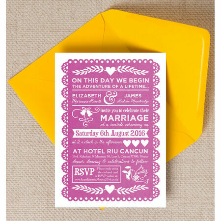 Mexican Inspired Papel Picado Wedding Invitation From 163 1