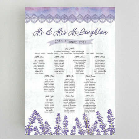 Lilac & Lavender Wedding Seating Plan from £65.00 each