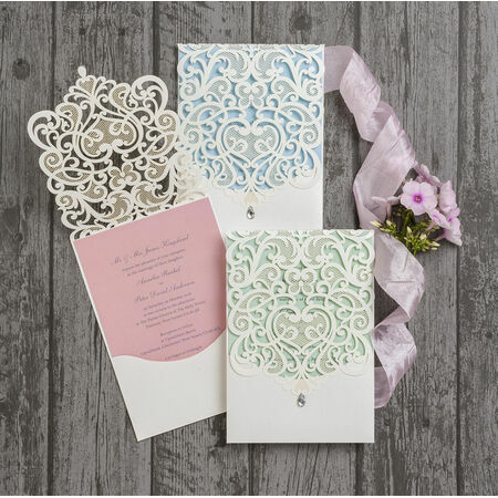 Wedding Invitations Laser Cut Uk : Ivory-Lace-Vintage-Diamante-Wedding-Invitations-Invites-Laser-Cut ...