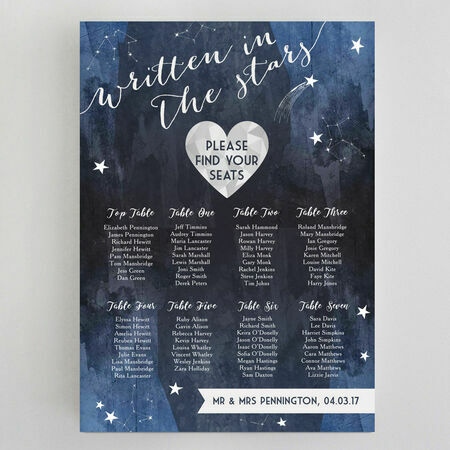 Midnight Stars Wedding Seating Plan from £65.00 each