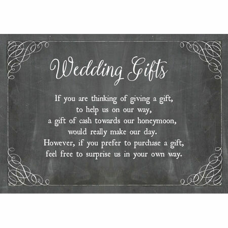 Wedding Gift Poems Charity : Chalkboard Wedding Gift Wish Card from ?0.40 each