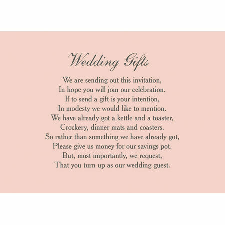 Wedding Gift Poem Presence Not Presents : Classic Wedding Gift Wish Card from ?0.40 each