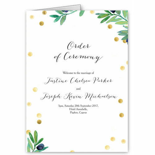 Olive Wreath Order Of Service Cover