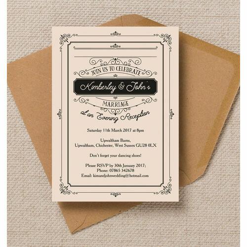 Elegant Vintage Evening Reception Invitation