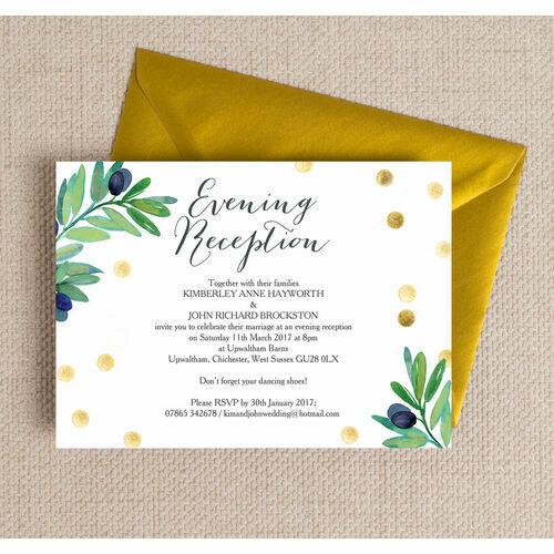 Olive Wreath Evening Reception Invitation