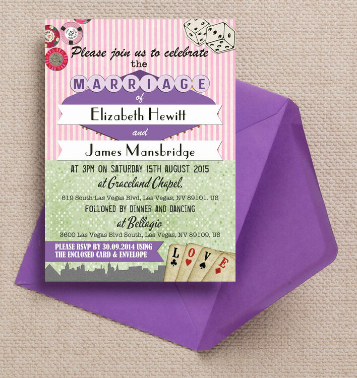 Vintage vegas wedding invitation from gbp100 each for Las vegas themed wedding invitations uk