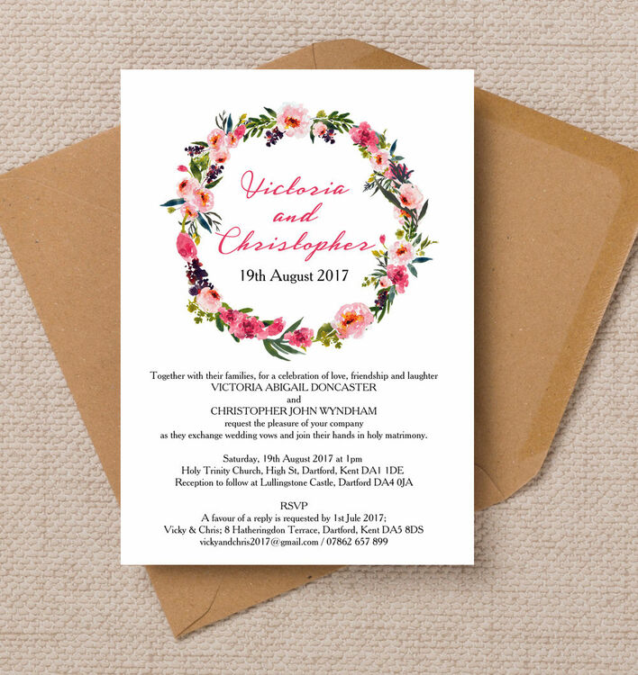 Pink Peony Peonies Wreath Floral Flowers PERsonalised Wedding Invites Invitations Printed Printable 1 john lewis wedding invitations personalised futureclim info,John Lewis Wedding Invitations Personalised