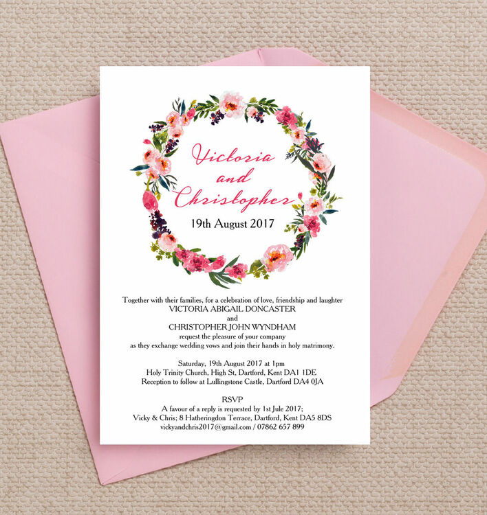 Personalised Wedding Gifts John Lewis : Home Wedding Pre Wedding Invitations Pink Peony Watercolour Wedding