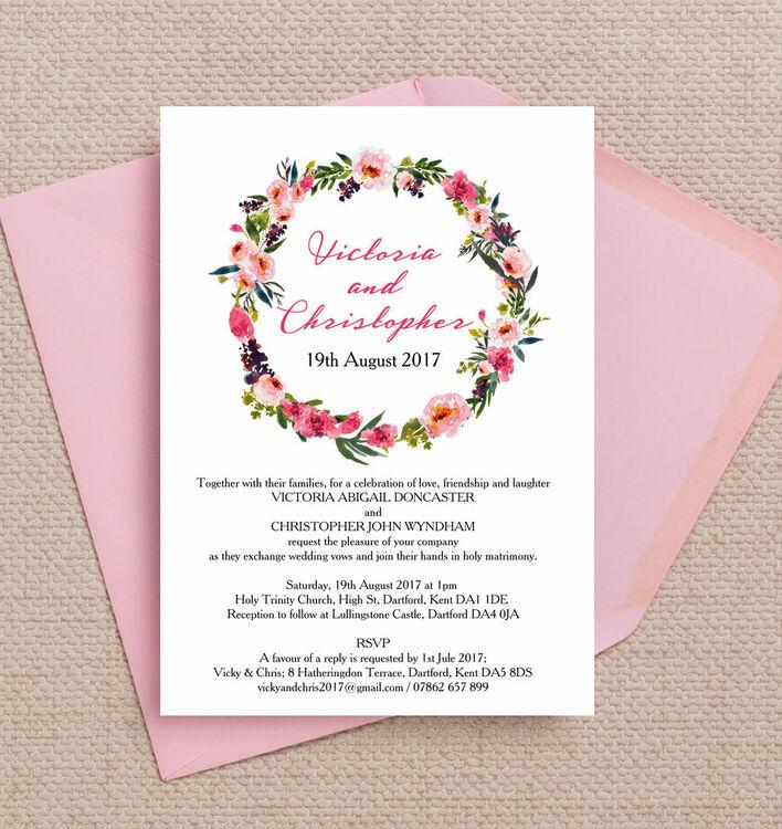 John Lewis Wedding Gift List Contact : Home Wedding Pre Wedding Invitations Pink Peony Watercolour Wedding ...