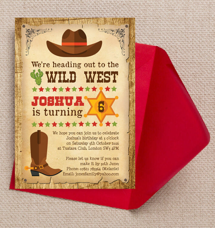 Cowboy Wild West Birthday Party Invitation from 080 each – Wild West Party Invites