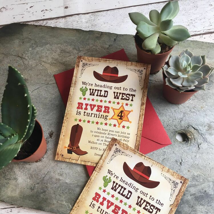 cowboy wild west birthday party invitation from  u00a30 80 each