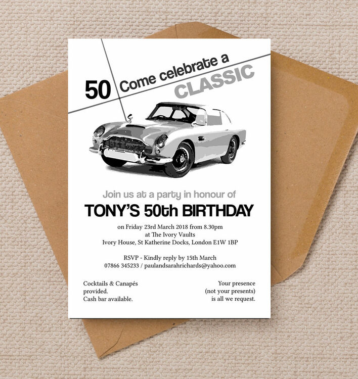 Stylish Classic Car 50th Birthday Party Invitation from 125 each – 50th Birthday Party Invite