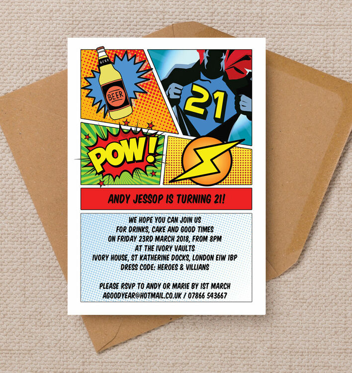 Comic Book Inspired Superhero 21st Birthday Party Invitation from – Book Party Invitation