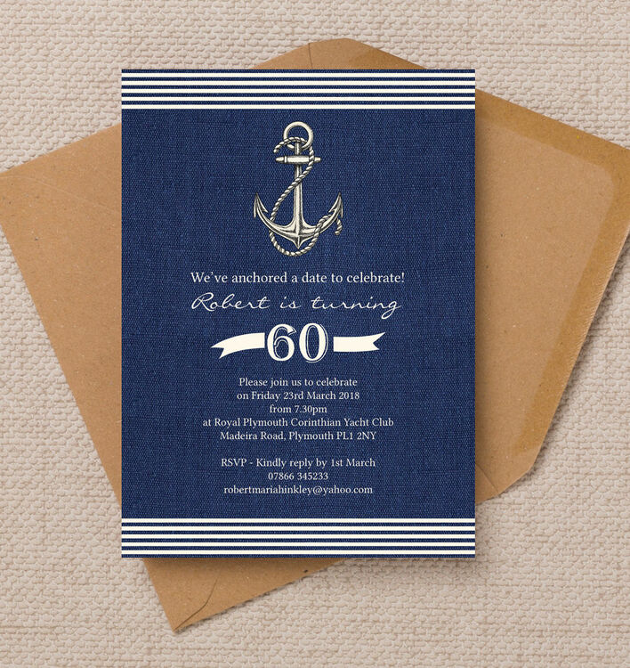 Nautical / Sailing Themed 60th Birthday Party Invitation ...