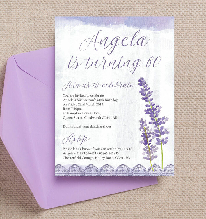 Lilac Lavender Themed 60th Birthday Party Invitation from 125 each – Hotel Party Invitations