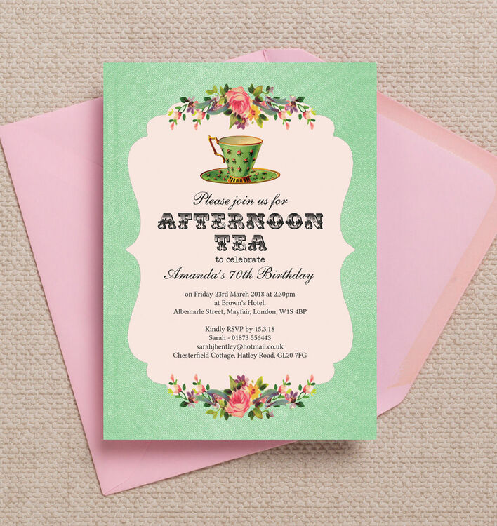 vintage afternoon tea themed 70th birthday party invitation from, Birthday invitations