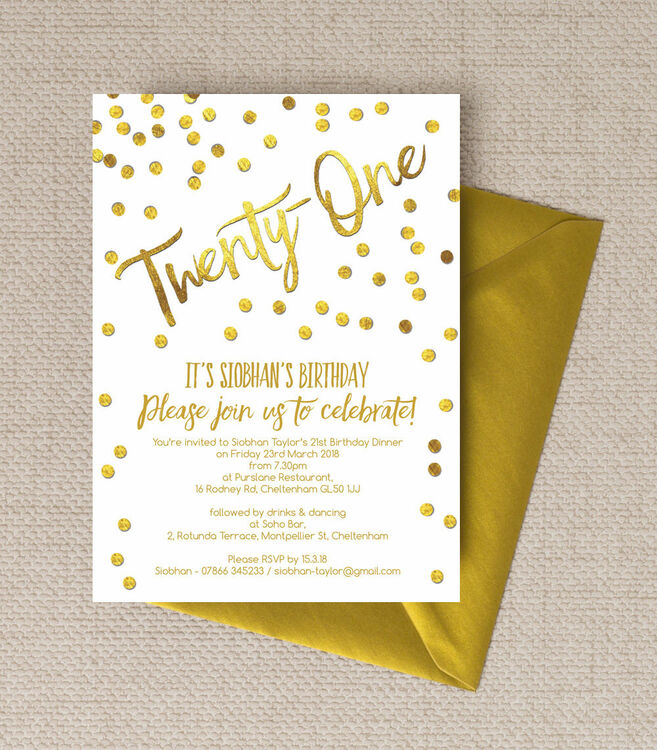 Gold Calligraphy Confetti 21st Birthday Party Invitation from – Invitations 21st Birthday Party
