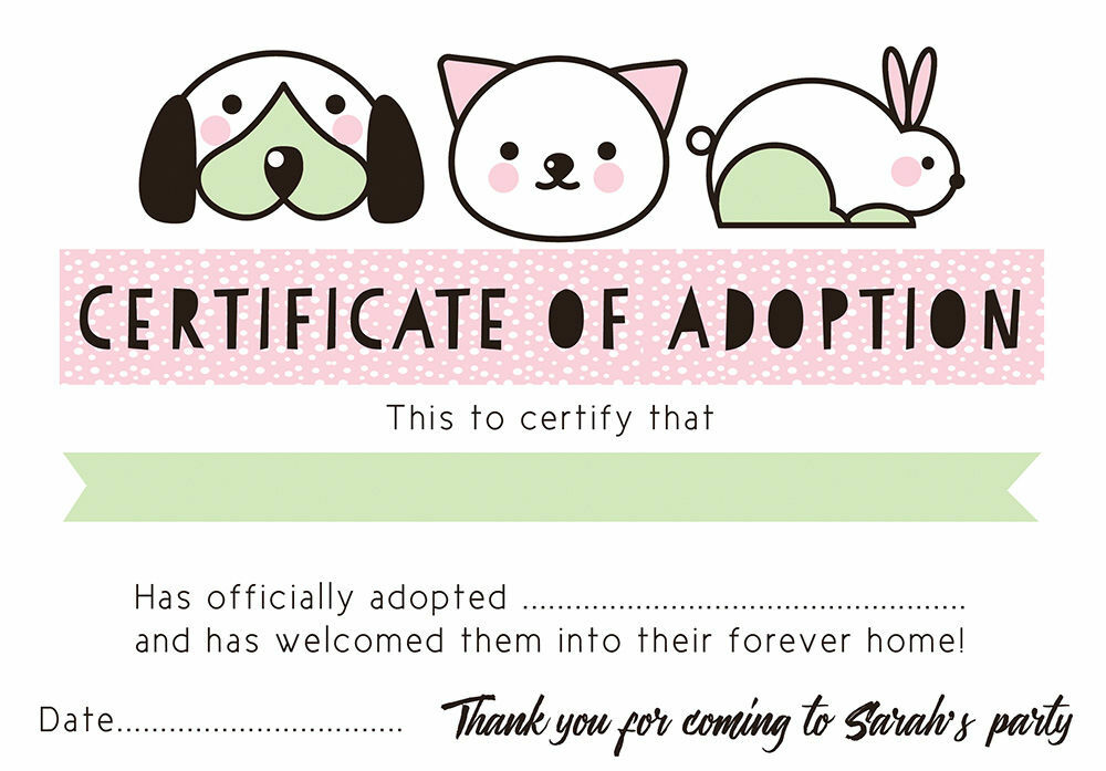 Pet birth certificate templaterth certificate template 27 free pet rescue party pretend adoption certificate pink yadclub Images
