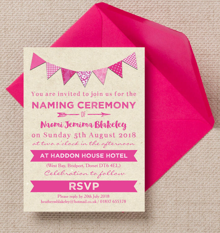 Pink Bunting Naming Ceremony Day Invitation From £0.80 Each