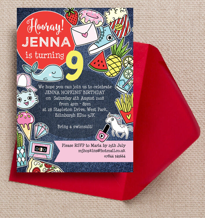 Schools Out Teen Tween Birthday Party Invitation from 080 each