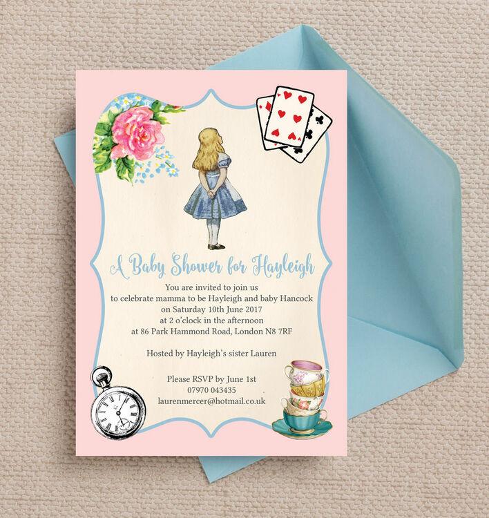 pink & blue alice in wonderland baby shower invitation from £0.80 each, Baby shower invitations