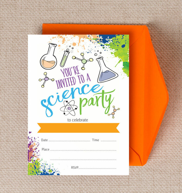 Pack of 10 Mad Science Themed Party Invitations from 699 each