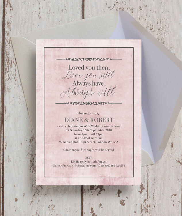 Pastel Pink Quote Diamond Wedding Anniversary Invitation