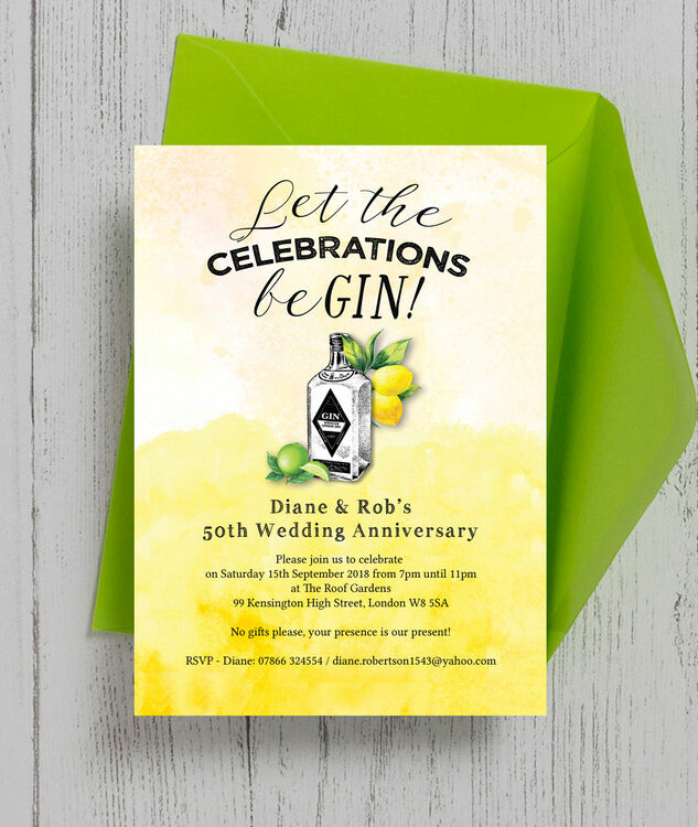 Gin Tonic Themed 50th Golden Wedding Anniversary