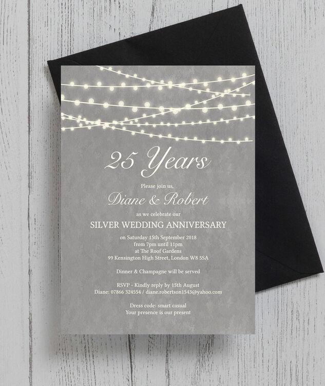 Silver Wedding Anniversary Gowns: Grey Fairy Lights 25th / Silver Wedding Anniversary