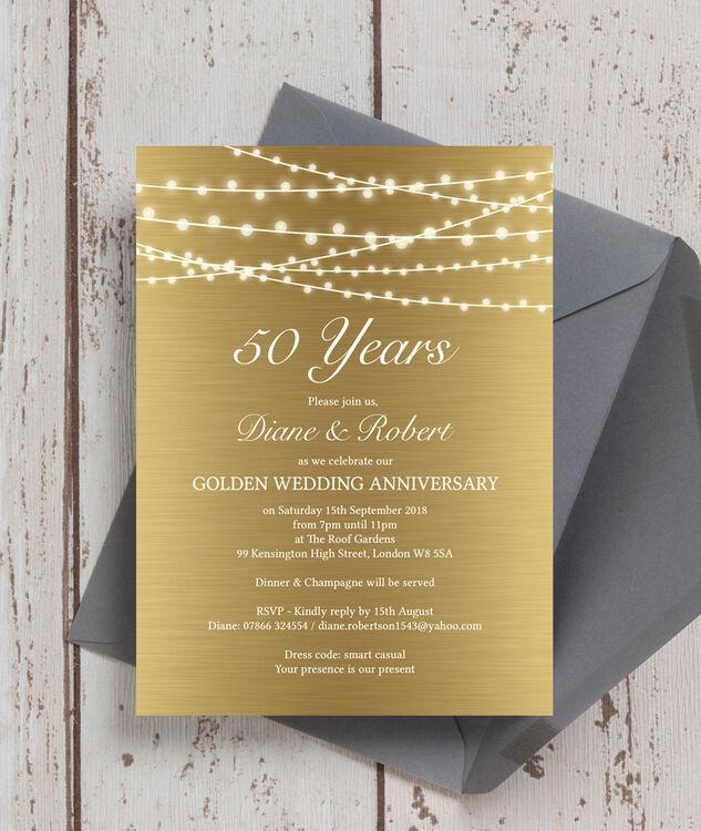 Gold Fairy Lights 50th / Golden Wedding Anniversary