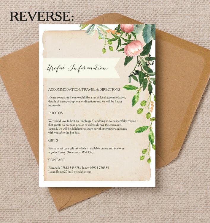 John Lewis Wedding Gift List Contact : Home Wedding Pre Wedding Invitations Flora Wreath Wedding Invitation