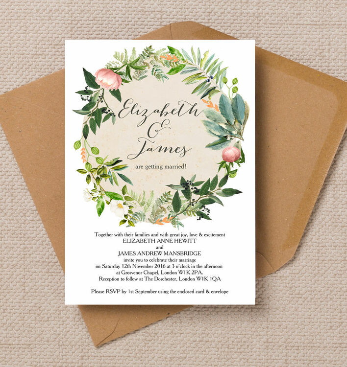 Wedding Gift List Wording John Lewis : Home Wedding Pre Wedding Invitations Flora Wreath Wedding Invitation