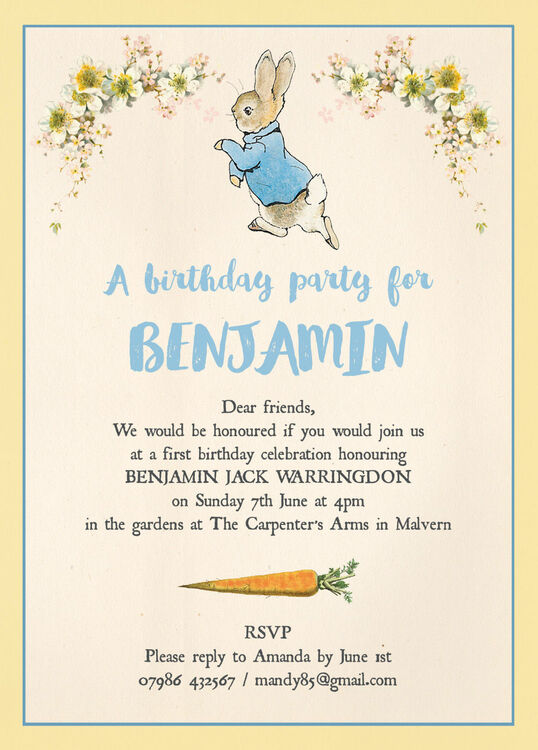 Childrens Birthday Invitation Ideas – Beatrix Potter Birthday Invitations
