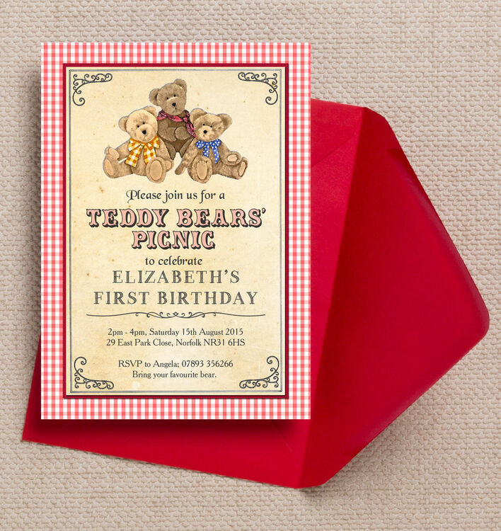 teddy bears u0026 39  picnic kids party invitation