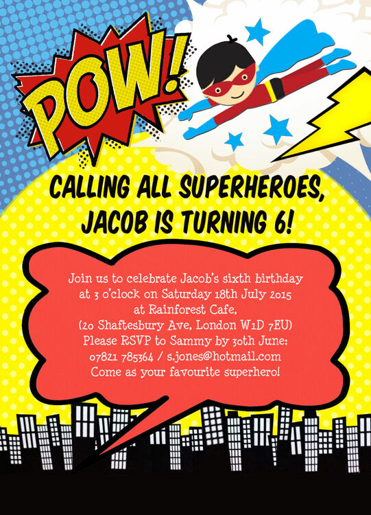 Superhero Children S Party Invitation From 163 0 80 Each