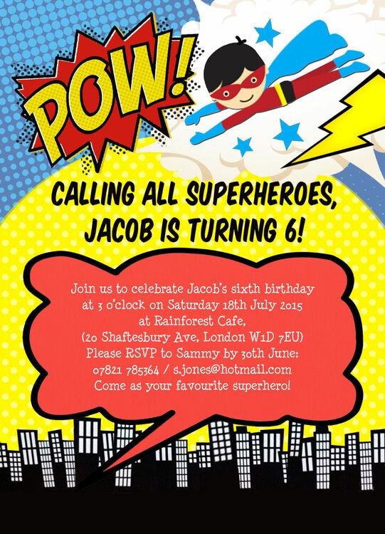 superhero children u0026 39 s party invitation from  u00a30 80 each