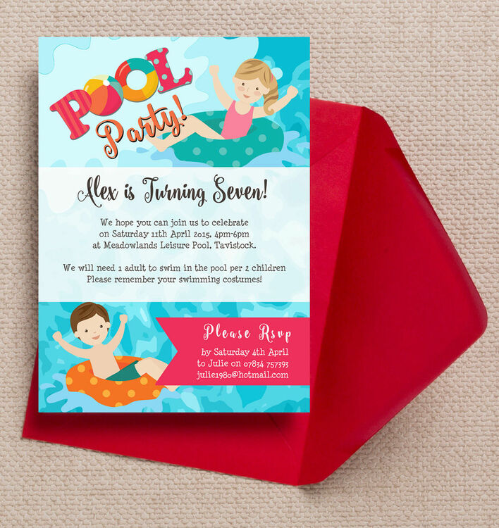 Swimming pool party invitation from each Swimming pool birthday party invitations