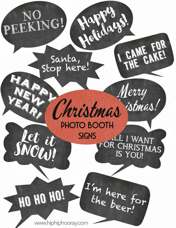 Christmas Holiday Chalkboard Speech Bubble Slogans - Printable ...
